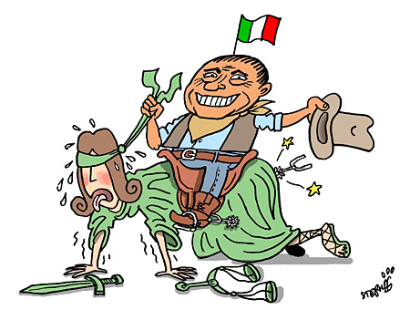 Berlusconi and Justice, cartoon