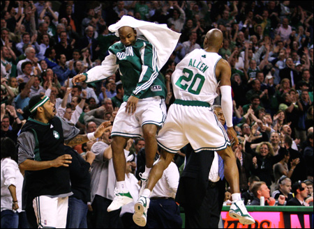 ray allen celtics. Boston Celtics guards Ray