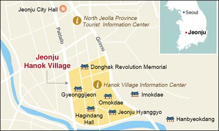 Hanok Village In Jeonju - Jeongju map